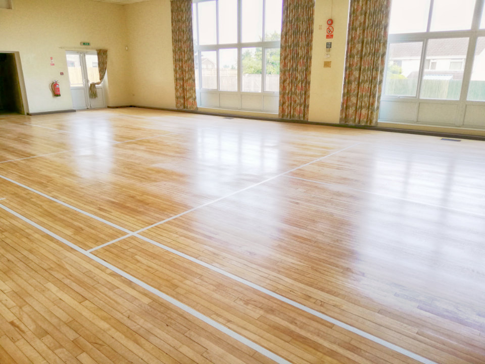 The beautiful sprung Maple floor of the Main Hall at Stalbridge has been recently renovated