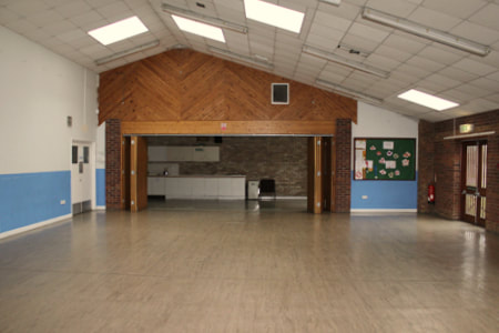 The Community Hall, with adaptable separate kitchenette facilities and assembly area